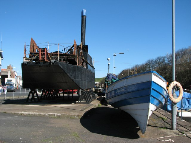 Boats high and dry at Eyemouth