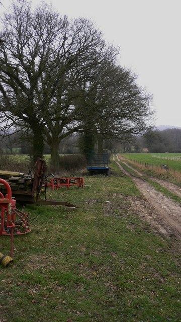 Farm machinery by footpath