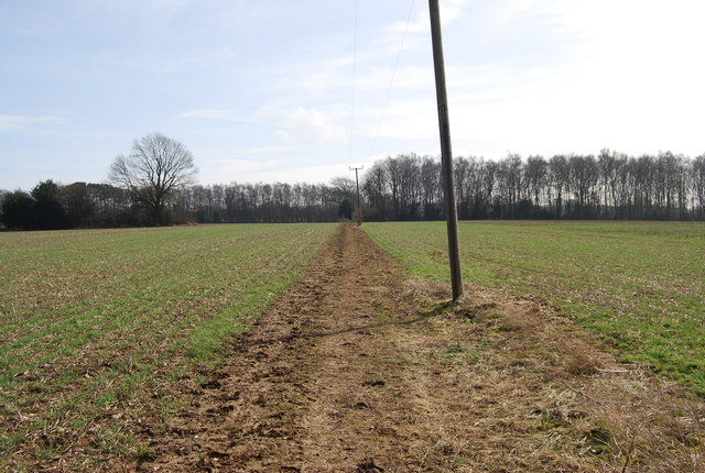 Bridleway across a field, Warren Corner
