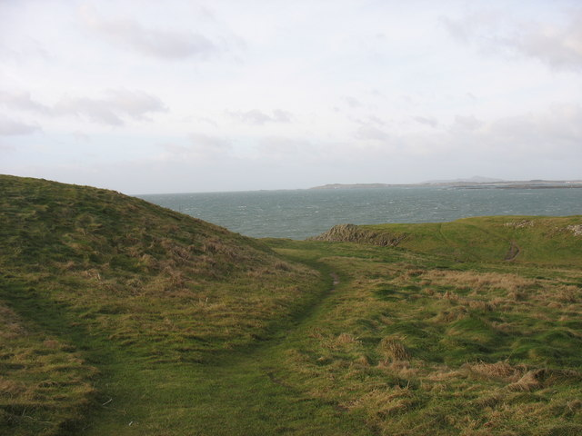 Cliff top path at Barclodiad y Gawres