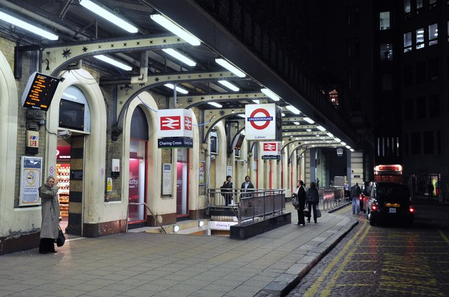 Charing Cross station, exterior at night