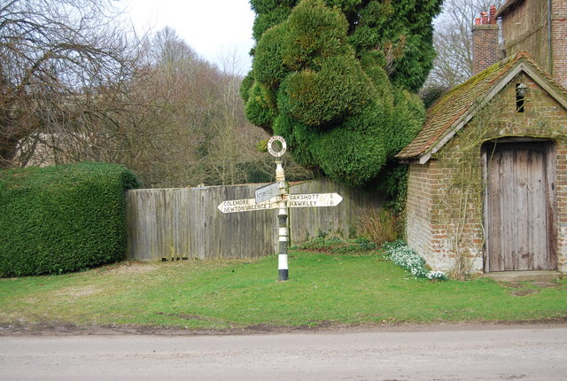 Signpost at the road junction, Priors Dean