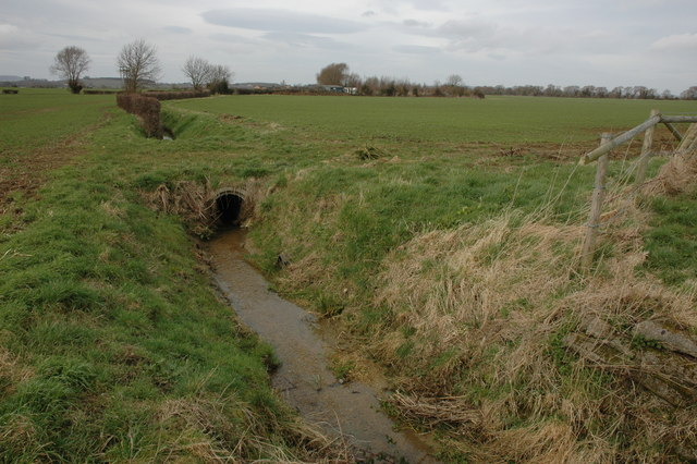 Ditch through farmland, Childswickham