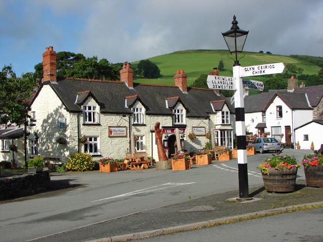 The centre of Llanarmon Dyffryn Ceiriog