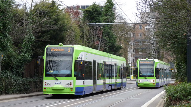 Trams Pass in Addiscombe Road