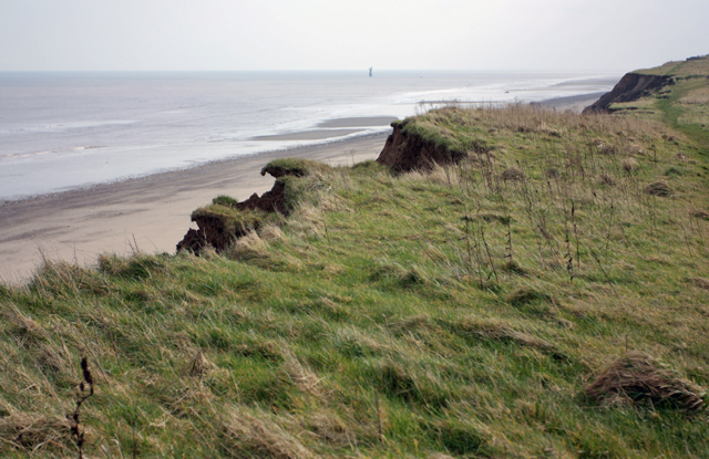 Cliff top, beach and sea, near Aldbrough