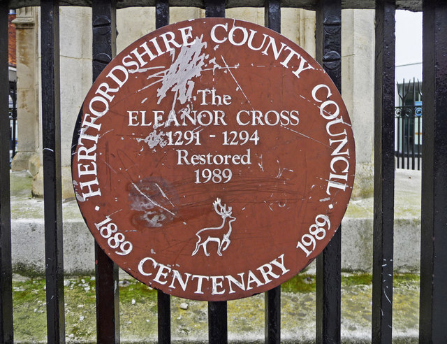 Plaque on Eleanor Cross, Waltham Cross