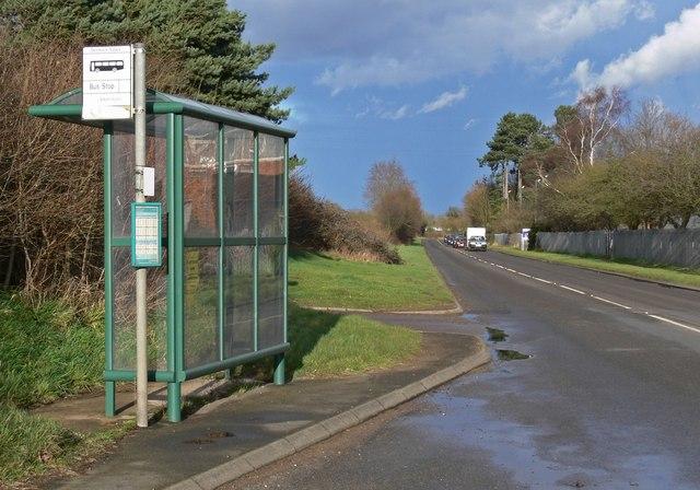Bus stop along Desford Lane