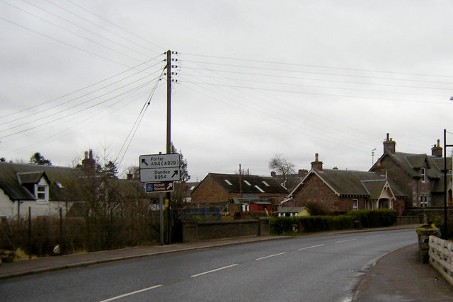 View of Alyth Road, Meigle near its junction with the road leading to Dundee