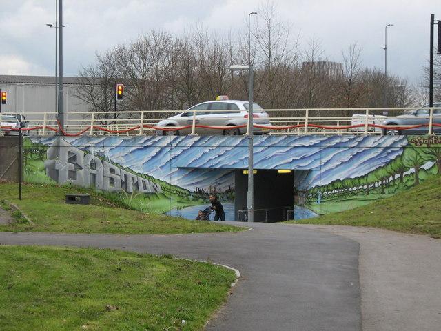 Underpass with street art