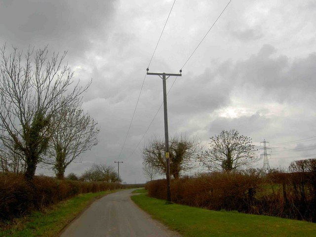 Power lines crossing Green Lane, near Moorhouse