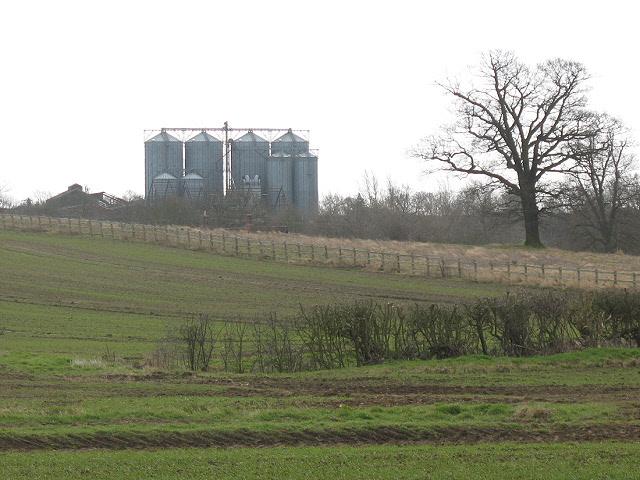 Disused grain silos near Elderswell Farm