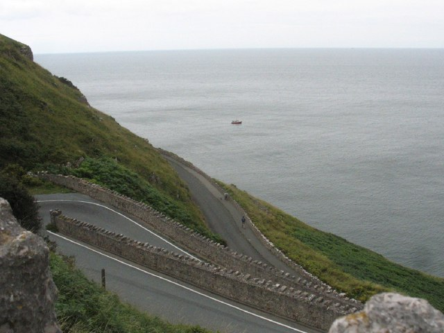 Zig-zag road linking the Toll road with St Tudno Church and the summit of the Great Orme