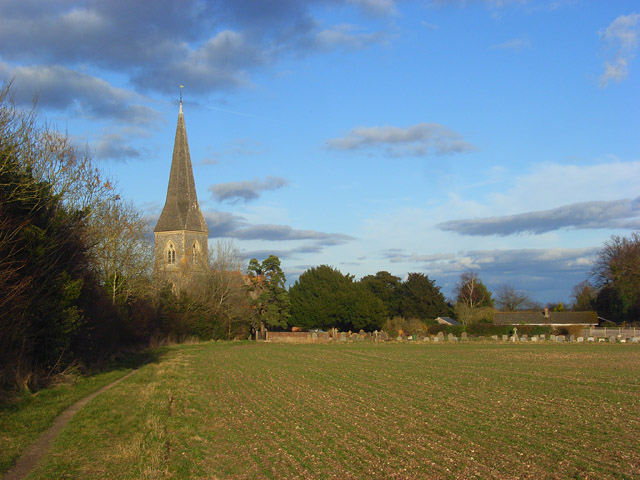 Farmland and church, Brimpton