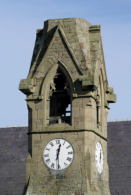The clock tower on the former Free Church in Swinton