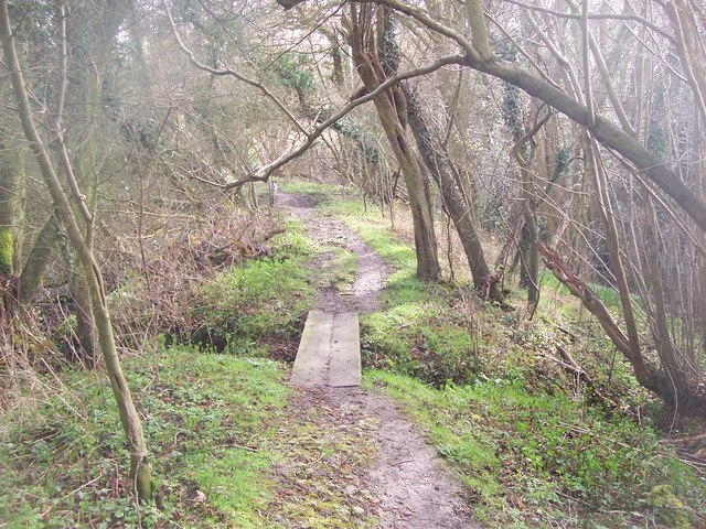 The Greensand Way goes over small footbridge