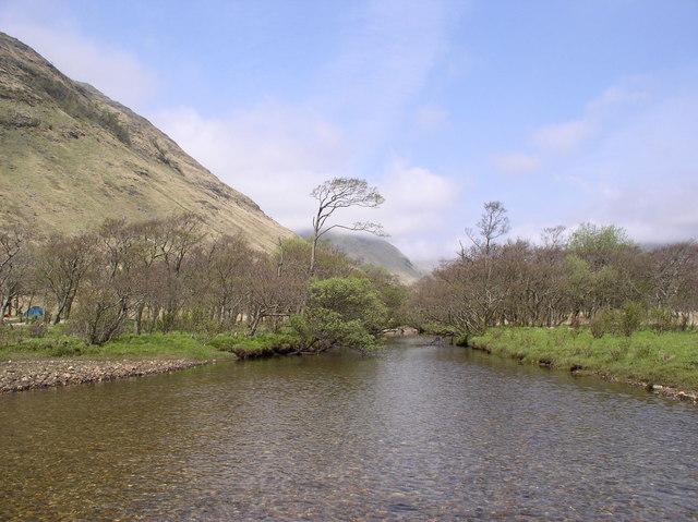 Glenaladale River as it enters Loch Sheil
