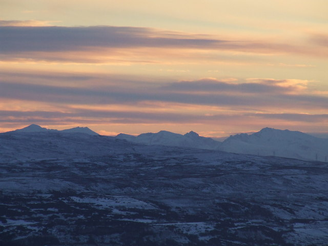 The Arran hills from Bromley Muir trigpoint(sunset)