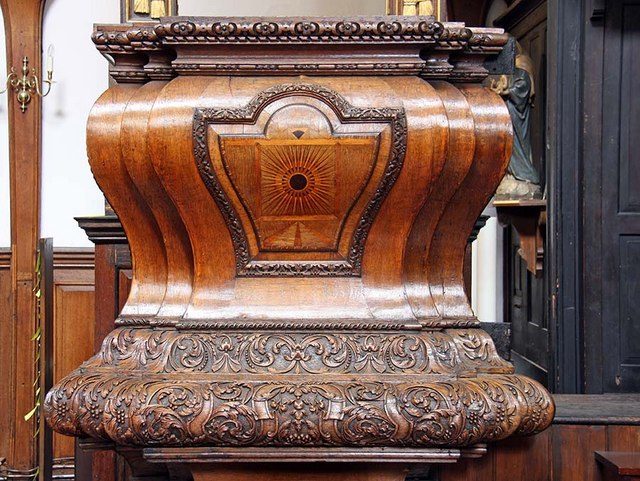 St Mary Woolnoth, Lombard Street, London EC3 - Pulpit detail