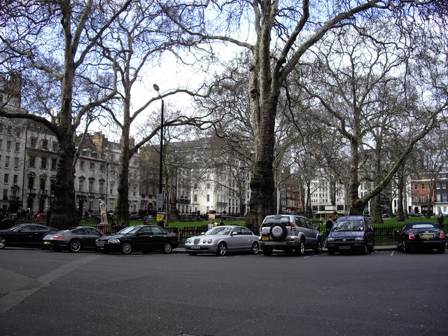 Cars parked in Berkeley Square