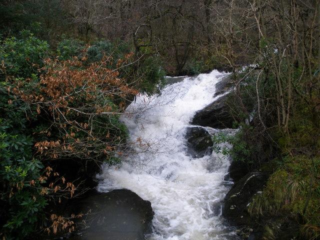 Waterfall at road bridge at Coire Ealt