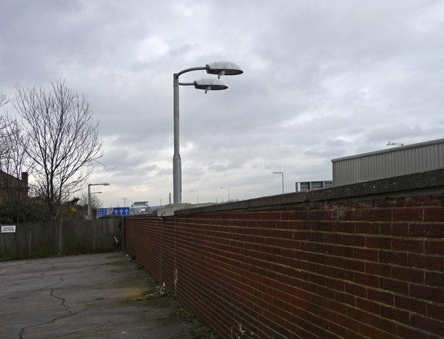 Wall beside M25 Waltham Cross, Hertfordshire