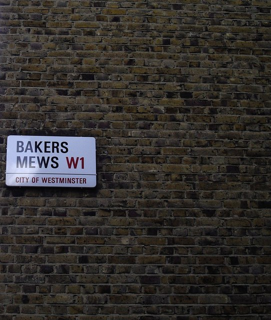 Street Sign 'Bakers Mews'