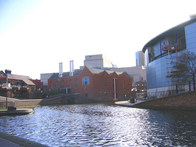 Symphony Hall , Malt House Pub & National Sealife Centre from Canal