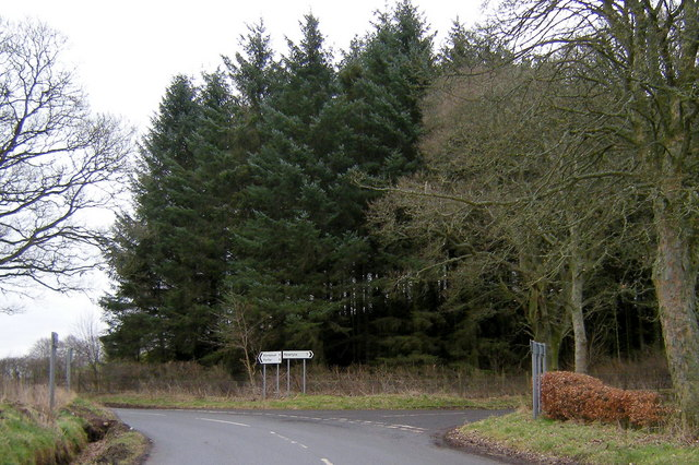 Meigle / Logie Road at its junction with the road leading to Eassie
