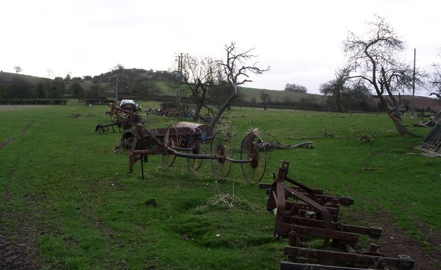 Old implements  at Upper Battenhall Farm