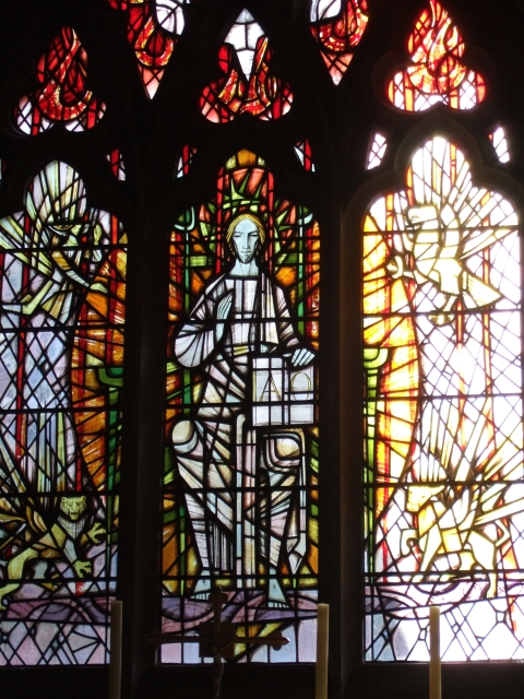 Stained glass window in St Mary Steps church