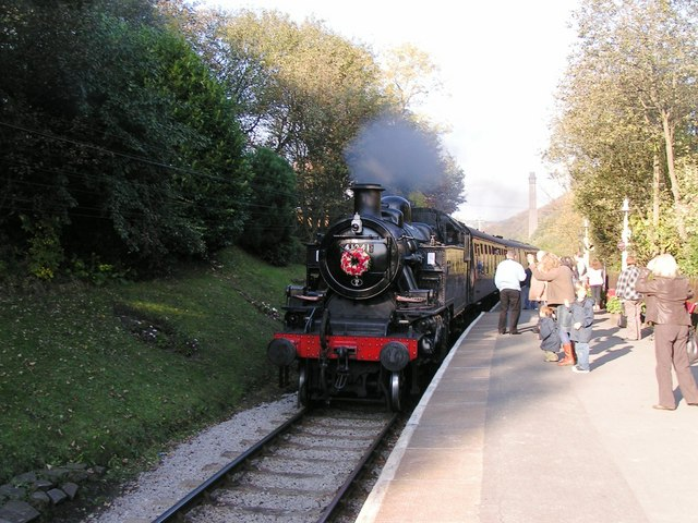 Steam Train approaching Haworth Station en route to Oxenhope