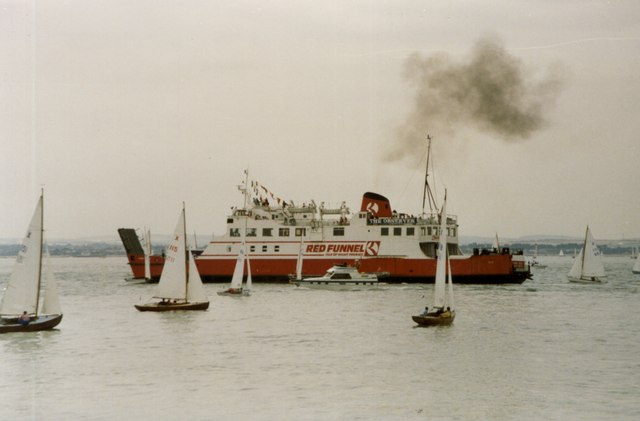 The Red Funnel Ferry weaving its way between the yachts