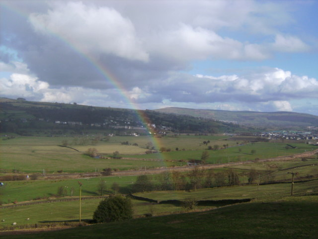 The Aire Valley with rainbow