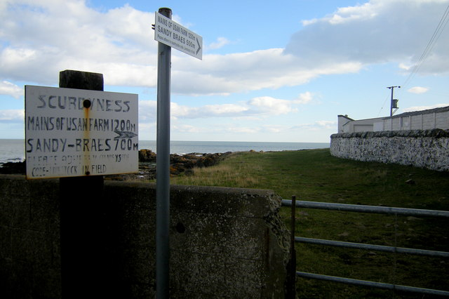 Signposts depicting route to Mains of Usan Farm and Sandy Braes
