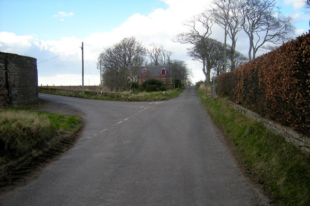 Mains of Usan / Inchbrayock Road at its junction with the road leading to Scotston of Usan and Barns of Craig