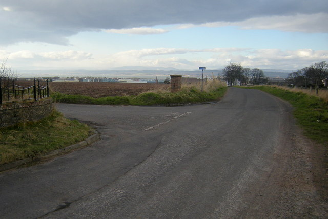 Mains of Usan / Ferryden Road at its junction with the road leading to Barns of Craig