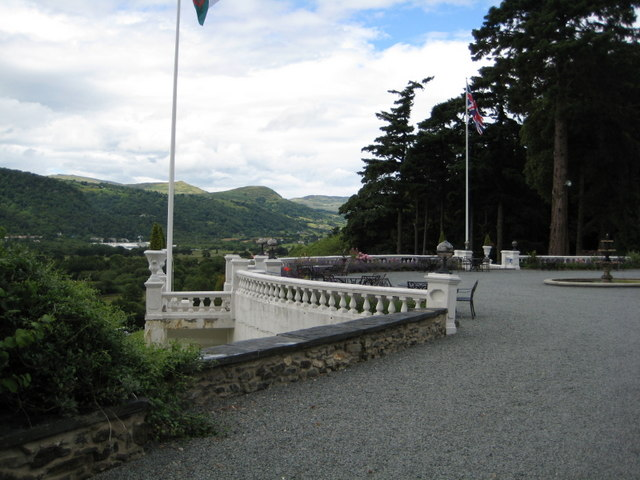 The terrace at Plas Maenan