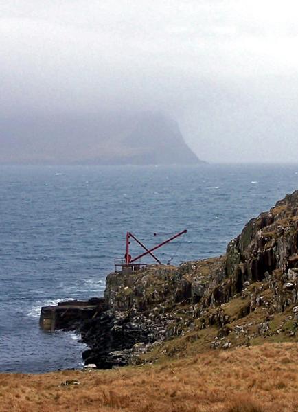 Rocks and a crane