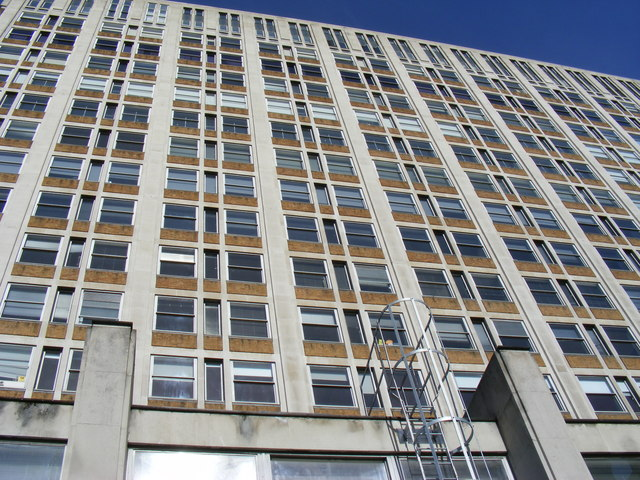 Office Block looking up from Thames Path Albert Embankment