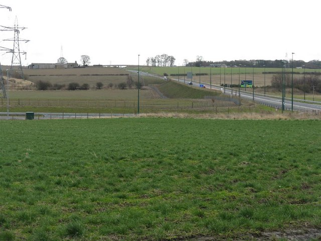 Farmland bisected by the A68 Dalkeith bypass