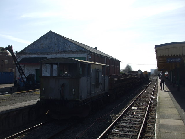 Dereham station with a freight train