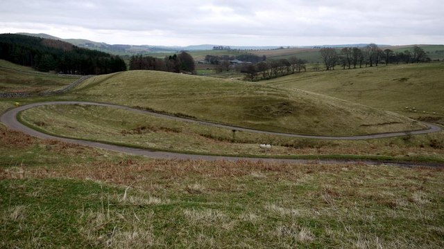 Hairpin bend on road west of Alnham