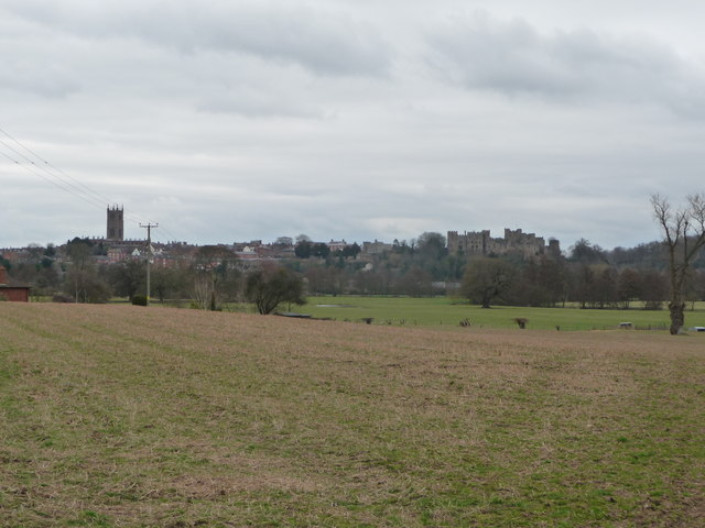 St. Laurence's church and Ludlow castle from the Shropshire Way