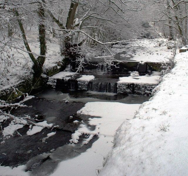 Mill Pond Weir St Johns Wood Calder Vale after Snowfall