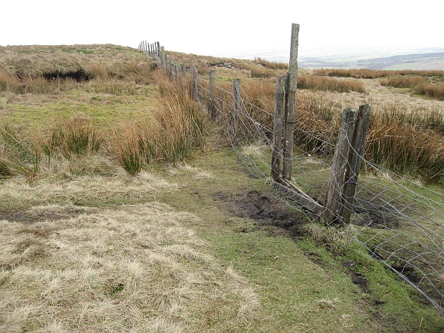 Stile and tattered fence