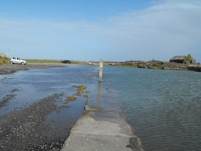 High tide at Cemlyn car park