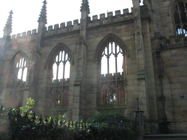 The burnt out shell of St Luke's Church