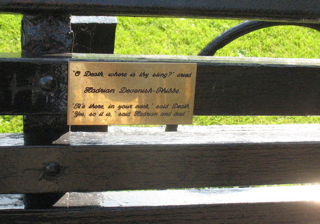 Scouse humour on a seat commemorating Hadrian Davenish-Phibbs