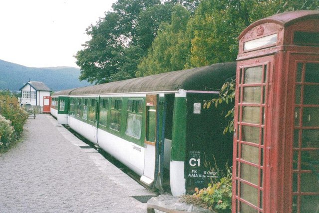 Old carriage at railway bunkhouse at rear of Rogart Station